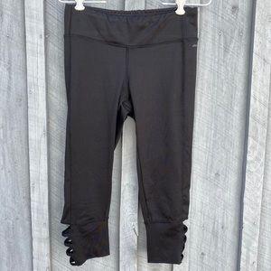Jockey black yoga capris, crisscross cutout legs
